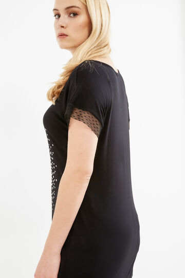 Curvy T-shirt with print and lace, Black, hi-res