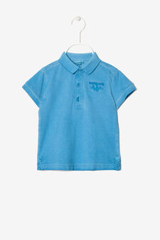 Polo shirt with embroidered motif, Turquoise Blue, hi-res