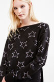 Knitted pullover with glitter star pattern, Black, hi-res