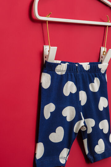 Stretch cotton shorts with heart pattern, Navy Blue, hi-res