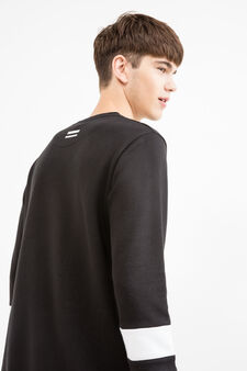 Solid colour round neck sweatshirt in cotton blend., Black, hi-res