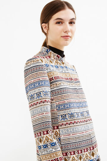 Stretch blazer with jacquard details, Blue/Red, hi-res