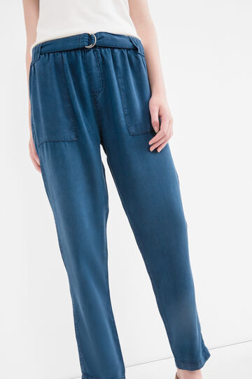 Soft jogging trousers with belt, Dark Blue, hi-res