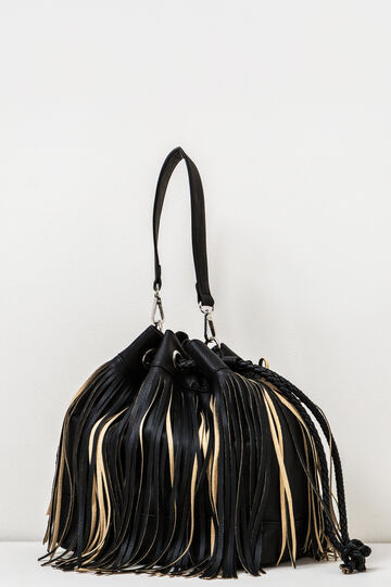 Shoulder bag with fringe, Black, hi-res