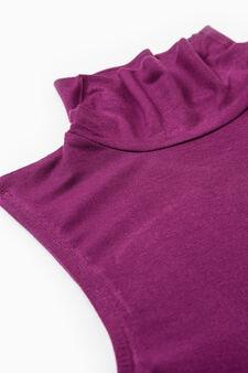 Canottiera intima viscosa collo alto, Rosso, hi-res