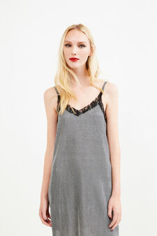 Sleeveless dress with glitter and lace trim, Grey/Silver, hi-res