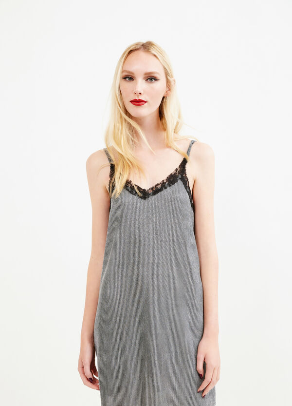 Sleeveless dress with glitter and lace trim | OVS