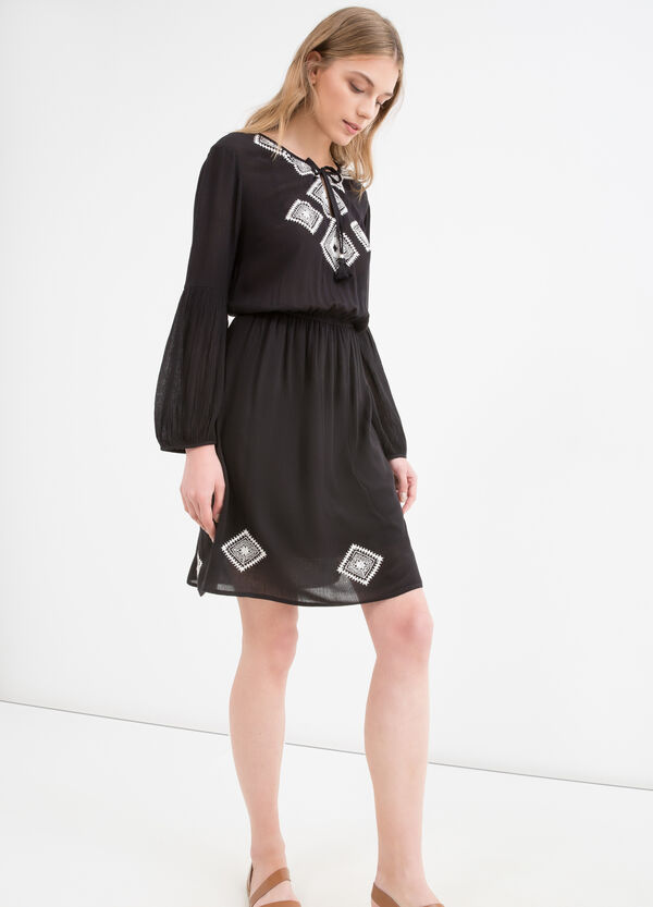 100% viscose dress with embroidery | OVS