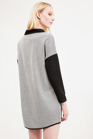 Short dress with geometric pattern, Black/White, hi-res