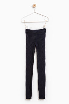 Stretch cotton knitted leggings, Blue, hi-res