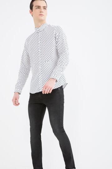 Camicia slim fit puro cotone pois, Bianco/Blu, hi-res
