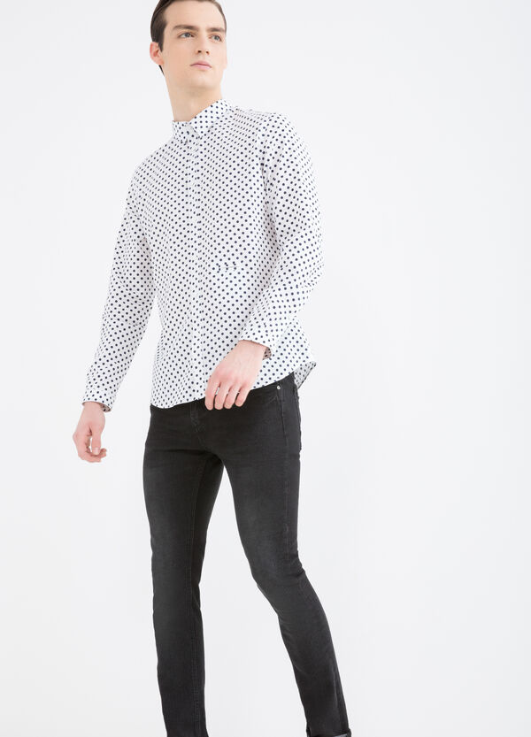 Slim fit polka dot shirt in 100% cotton | OVS