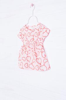 Heart print blouse, White, hi-res