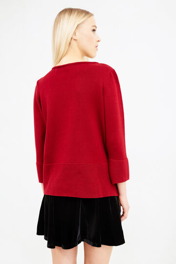 Solid colour 100% cotton pullover, Red, hi-res