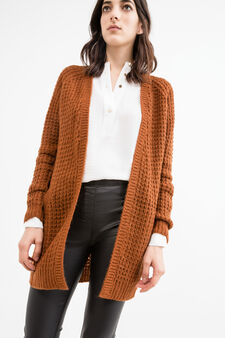 Long cardigan without buttons, Tobacco Brown, hi-res