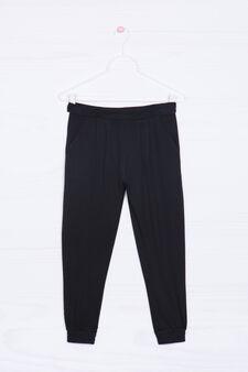 Cotton blend patterned trousers, Black, hi-res