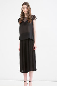 Top with openwork neck, Black, hi-res