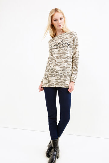 Sweatshirt with camouflage pattern, Army Green, hi-res