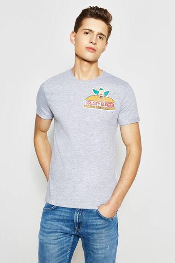 T-shirt in cotone stampa, Grigio melange, hi-res