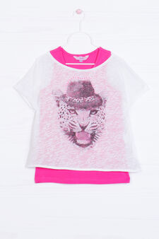 Faux layered cotton printed T-shirt, White/Pink, hi-res