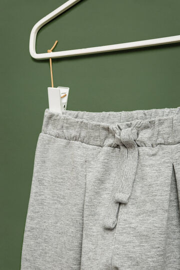 Stretch trousers with drawstring, Grey Marl, hi-res
