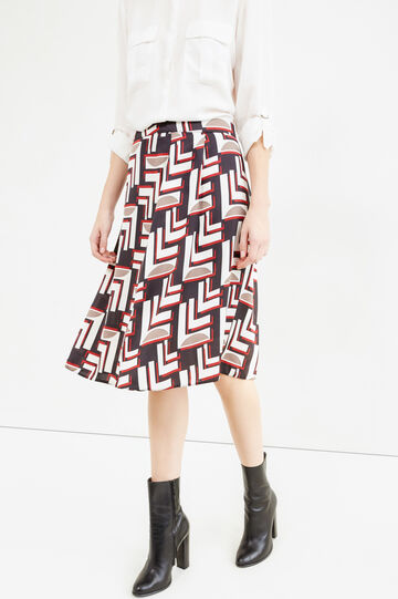 Longuette skirt with side zip and all-over print, Cream White, hi-res