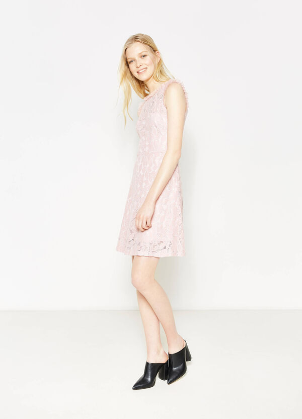 Lace sleeveless dress with flounces | OVS