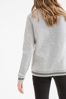 Teen printed and quilted sweatshirt, Grey Marl, hi-res