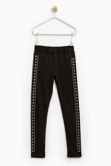 Trousers with studs and eyelets, Black, hi-res