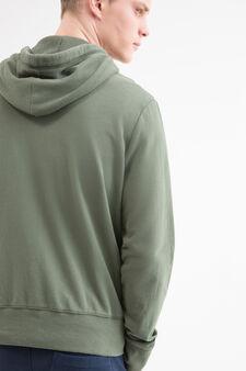 Felpa tinta unita con cappuccio, Verde, hi-res