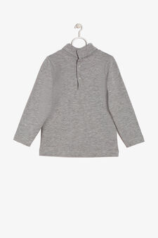 Sweater with mock polo neck, Grey, hi-res