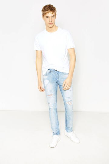 Straight-fit worn-effect jeans with rips, Light Wash, hi-res