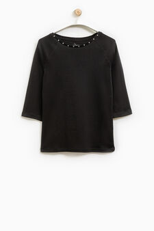 Smart Basic T-shirt with studs, Black, hi-res