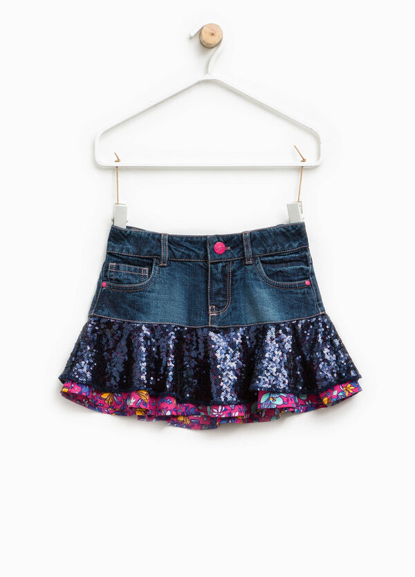Flounced denim skirt | OVS