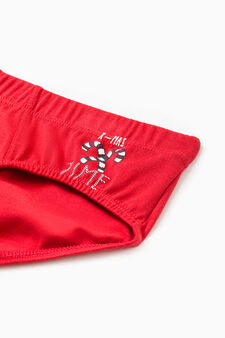 100% cotton briefs with Christmas print, Red, hi-res