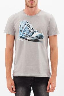 T-shirt con stampa a contrasto, Grigio cenere, hi-res