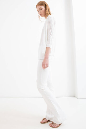 Solid colour 100% cotton cardigan, White, hi-res