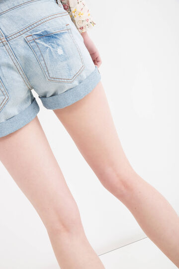 Denim shorts with rips and worn effect, Blue, hi-res