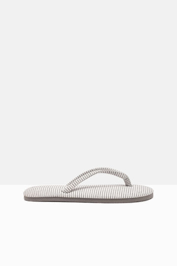 Striped pattern thong sandals, Light Grey, hi-res