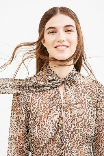 Animal print blouse, Cream White, hi-res