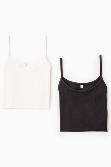 Two-pack stretch cotton under tops, White/Black, hi-res