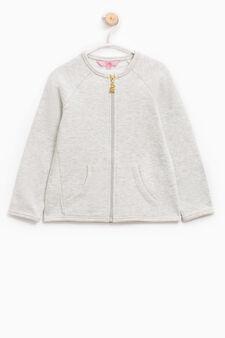 100% cotton sweatshirt with raglan sleeves, Grey Marl, hi-res