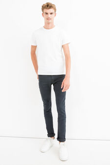 Solid colour super-skinny fit stretch jeans, Dark Wash, hi-res