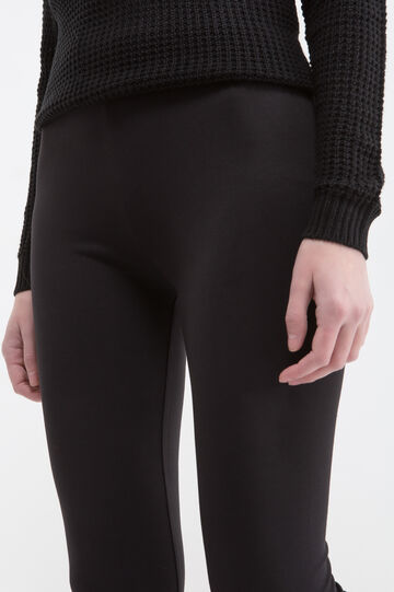 Leggings cotone stretch, Nero, hi-res