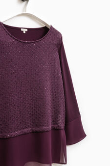 Smart Basic stretch T-shirt with sequins, Royal Purple, hi-res