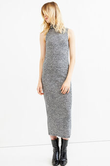 Long ribbed dress in stretch viscose, Grey Marl, hi-res