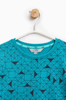 Cotton T-shirt with geometric pattern, Turquoise Blue, hi-res