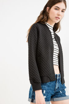 Stretch bomber with raised polka dot design, Black, hi-res