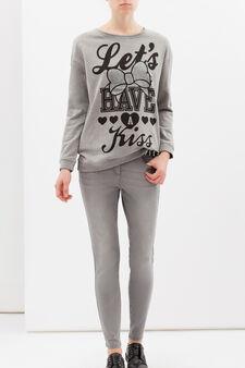 Printed sweatshirt in viscose blend, Grey Marl, hi-res
