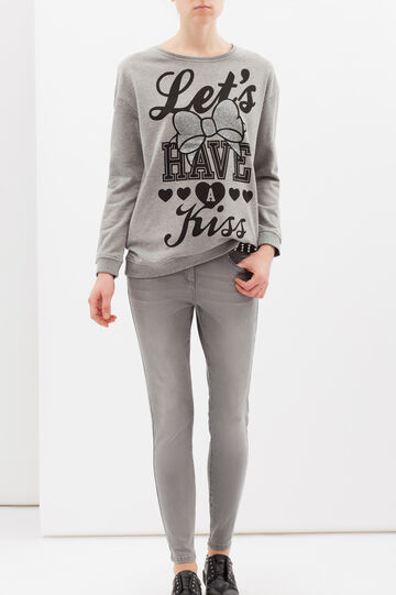 Printed sweatshirt in viscose blend, Grey Marl, hi-res